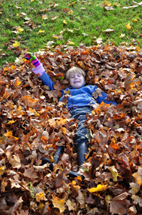 Happy child during autumn holidays
