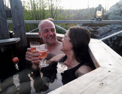 Couple hot tub Edens Garden